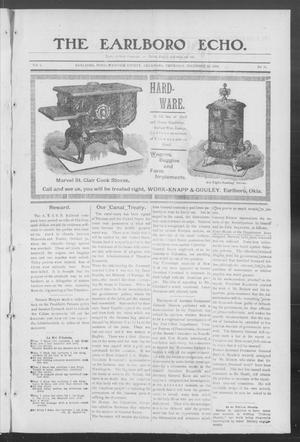 Primary view of object titled 'The Earlboro Echo. (Earlboro, Okla.), Vol. 1, No. 23, Ed. 1 Thursday, December 10, 1903'.