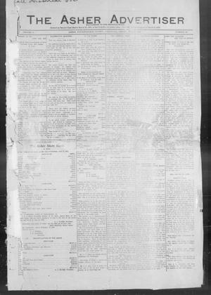 Primary view of object titled 'The Asher Advertiser (Asher, Okla.), Vol. 2, No. 18, Ed. 1 Friday, July 2, 1909'.
