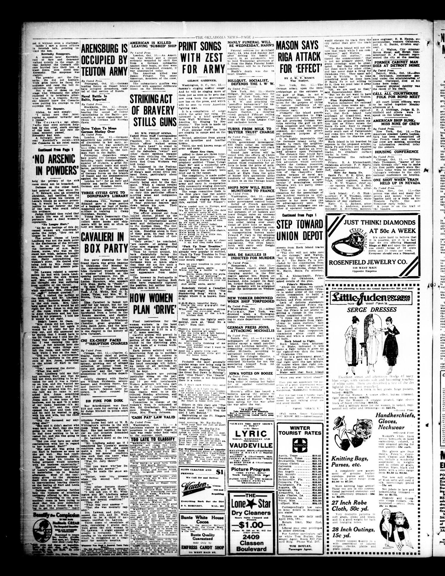 The Oklahoma News (Oklahoma City, Okla.), Vol. 12, No. 11, Ed. 1 Monday, October 15, 1917                                                                                                      [Sequence #]: 2 of 8