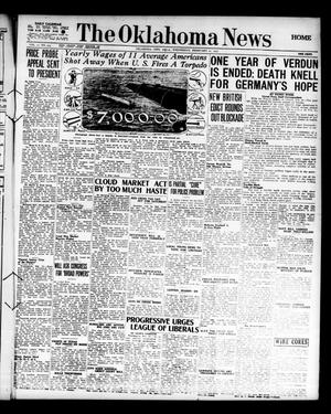Primary view of object titled 'The Oklahoma News (Oklahoma City, Okla.), Vol. 11, No. 124, Ed. 1 Wednesday, February 21, 1917'.