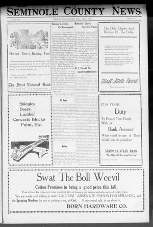 Primary view of object titled 'Seminole County News (Seminole, Okla.), Vol. 16, No. 17, Ed. 1 Thursday, July 13, 1922'.