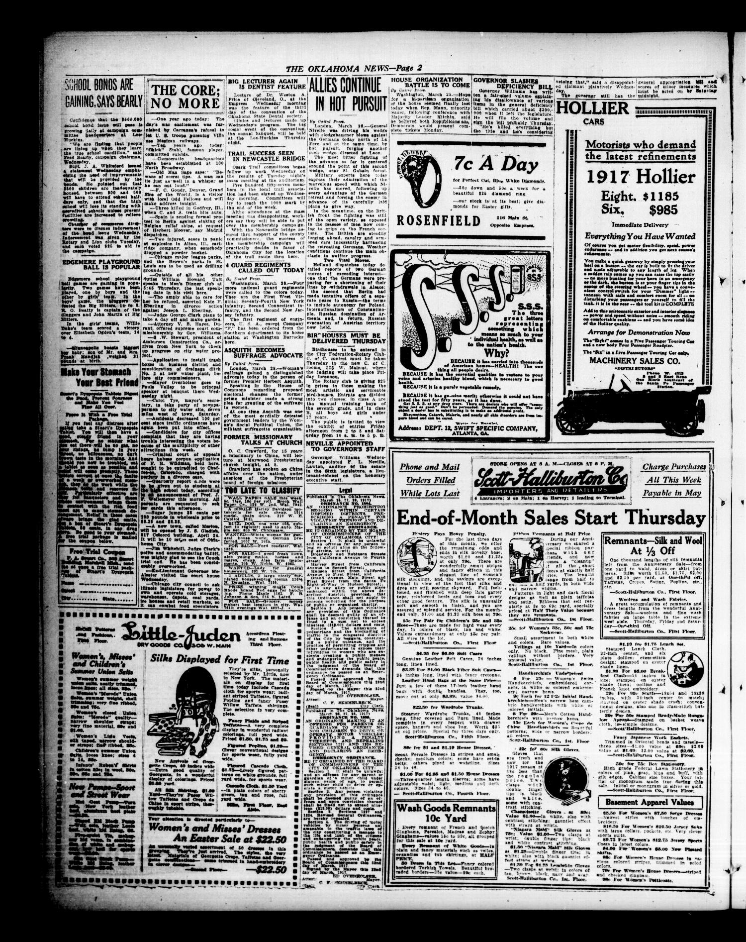 The Oklahoma News (Oklahoma City, Okla.), Vol. 11, No. 155, Ed. 1 Wednesday, March 28, 1917                                                                                                      [Sequence #]: 2 of 10