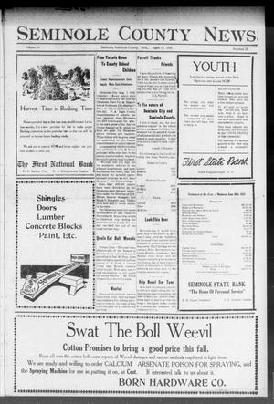 Primary view of object titled 'Seminole County News (Seminole, Okla.), Vol. 16, No. 21, Ed. 1 Thursday, August 10, 1922'.
