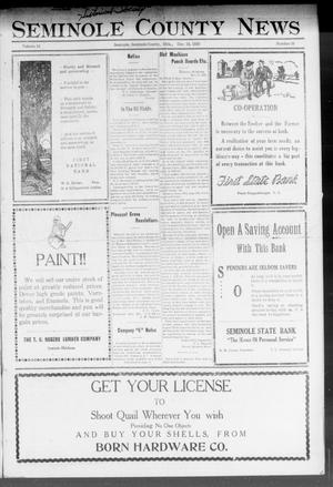 Primary view of object titled 'Seminole County News (Seminole, Okla.), Vol. 16, No. 39, Ed. 1 Thursday, December 14, 1922'.