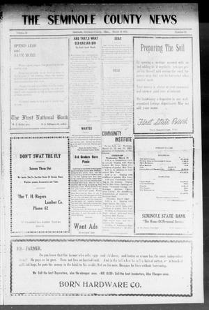Primary view of object titled 'The Seminole County News (Seminole, Okla.), Vol. 16, No. 52, Ed. 1 Thursday, March 15, 1923'.