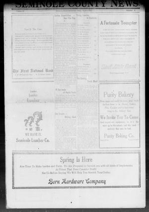 Primary view of object titled 'Seminole County News (Seminole, Okla.), Vol. 15, No. 3, Ed. 1 Thursday, April 7, 1921'.