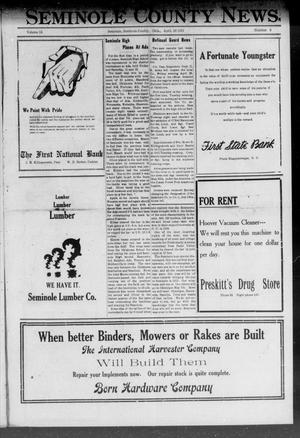 Primary view of object titled 'Seminole County News (Seminole, Okla.), Vol. 15, No. 6, Ed. 1 Thursday, April 28, 1921'.