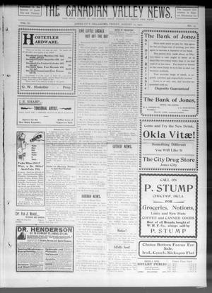 Primary view of object titled 'The Canadian Valley News. (Jones City, Okla.), Vol. 11, No. 13, Ed. 2 Friday, August 11, 1911'.