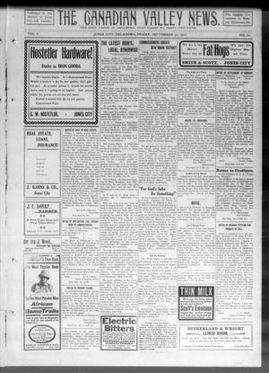 Primary view of object titled 'The Canadian Valley News. (Jones City, Okla.), Vol. 10, No. 20, Ed. 2 Friday, September 30, 1910'.