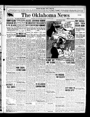 Primary view of object titled 'The Oklahoma News (Oklahoma City, Okla.), Vol. 11, No. 281, Ed. 1 Tuesday, August 21, 1917'.