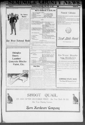 Primary view of object titled 'Seminole County News (Seminole, Okla.), Vol. 15, No. 36, Ed. 1 Thursday, November 24, 1921'.