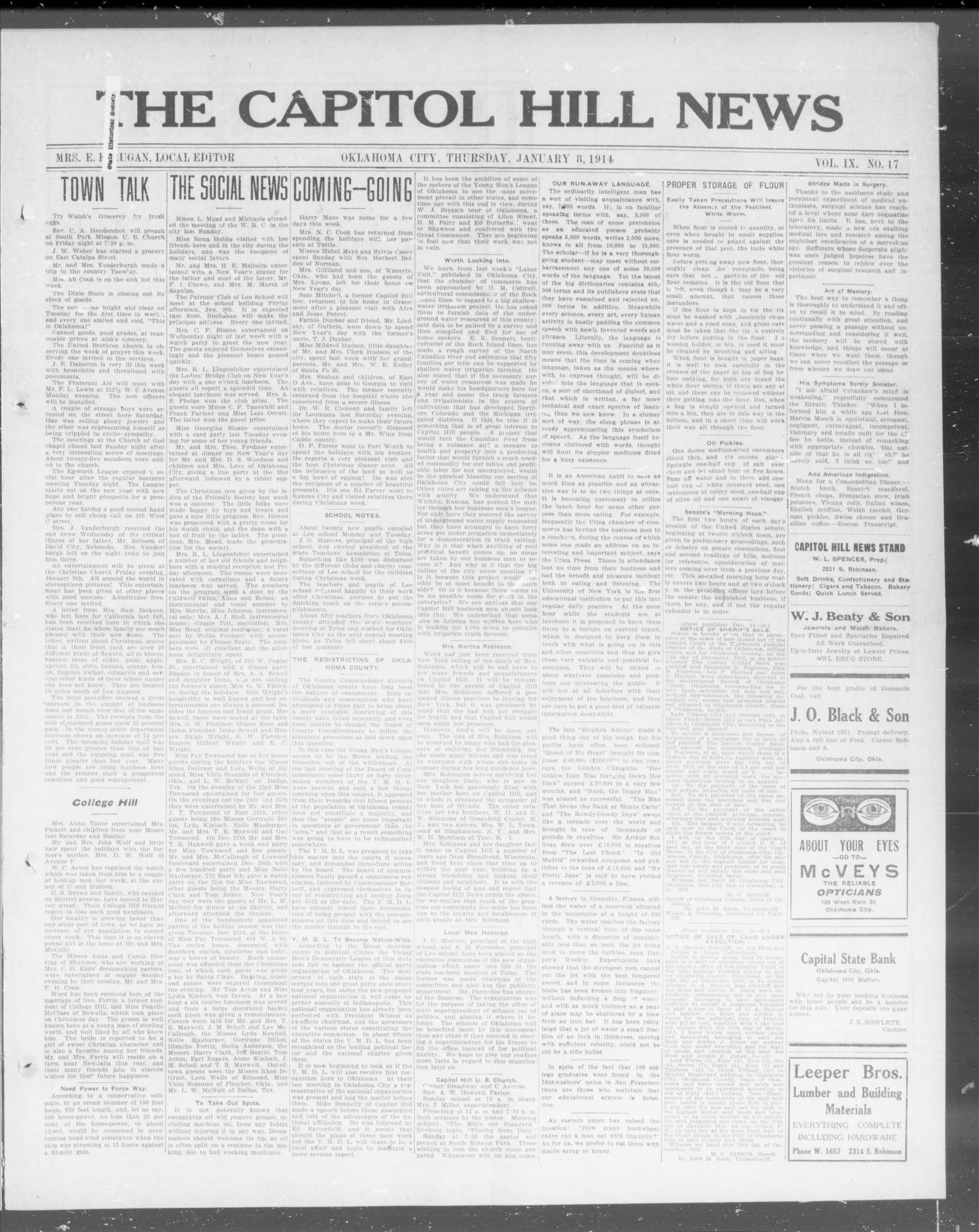 The Capitol Hill News (Oklahoma City, Okla.), Vol. 9, No. 17, Ed. 1 Thursday, January 8, 1914                                                                                                      [Sequence #]: 1 of 8