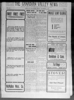 Primary view of object titled 'The Canadian Valley News. (Jones City, Okla.), Vol. 9, No. 25, Ed. 1 Friday, November 5, 1909'.