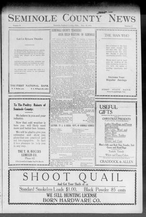 Primary view of object titled 'Seminole County News (Seminole, Okla.), Vol. 18, No. 38, Ed. 1 Thursday, December 13, 1923'.