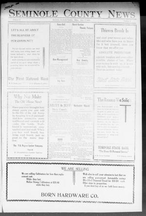 Primary view of object titled 'Seminole County News (Seminole, Okla.), Vol. 17, No. 9, Ed. 1 Thursday, May 17, 1923'.