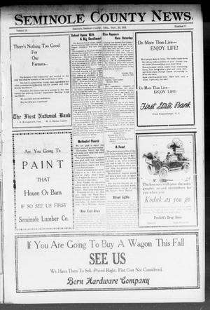 Primary view of object titled 'Seminole County News (Seminole, Okla.), Vol. 15, No. 27, Ed. 1 Thursday, September 22, 1921'.