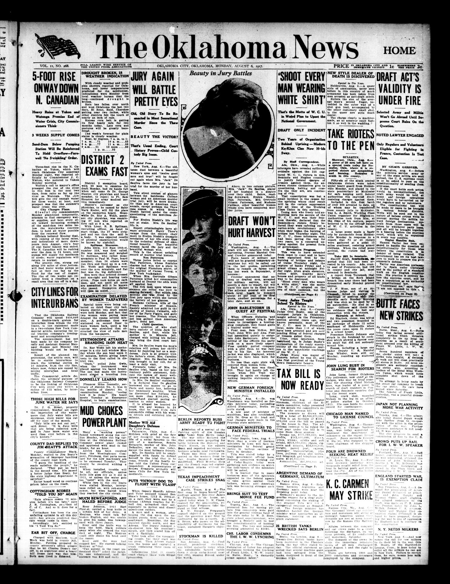 The Oklahoma News (Oklahoma City, Okla.), Vol. 11, No. 268, Ed. 1 Monday, August 6, 1917                                                                                                      [Sequence #]: 1 of 8