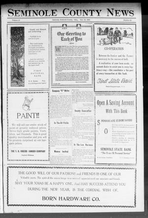 Primary view of object titled 'Seminole County News (Seminole, Okla.), Vol. 16, No. 40, Ed. 2 Thursday, December 21, 1922'.