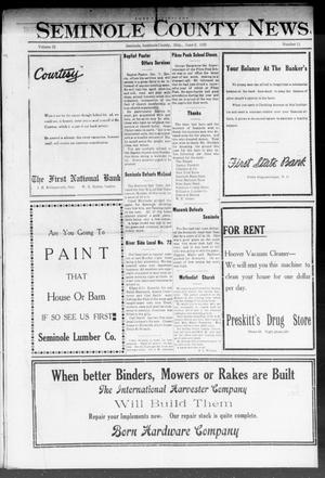 Primary view of object titled 'Seminole County News (Seminole, Okla.), Vol. 15, No. 11, Ed. 1 Thursday, June 2, 1921'.