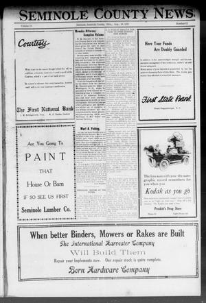 Primary view of object titled 'Seminole County News (Seminole, Okla.), Vol. 15, No. 22, Ed. 1 Thursday, August 18, 1921'.