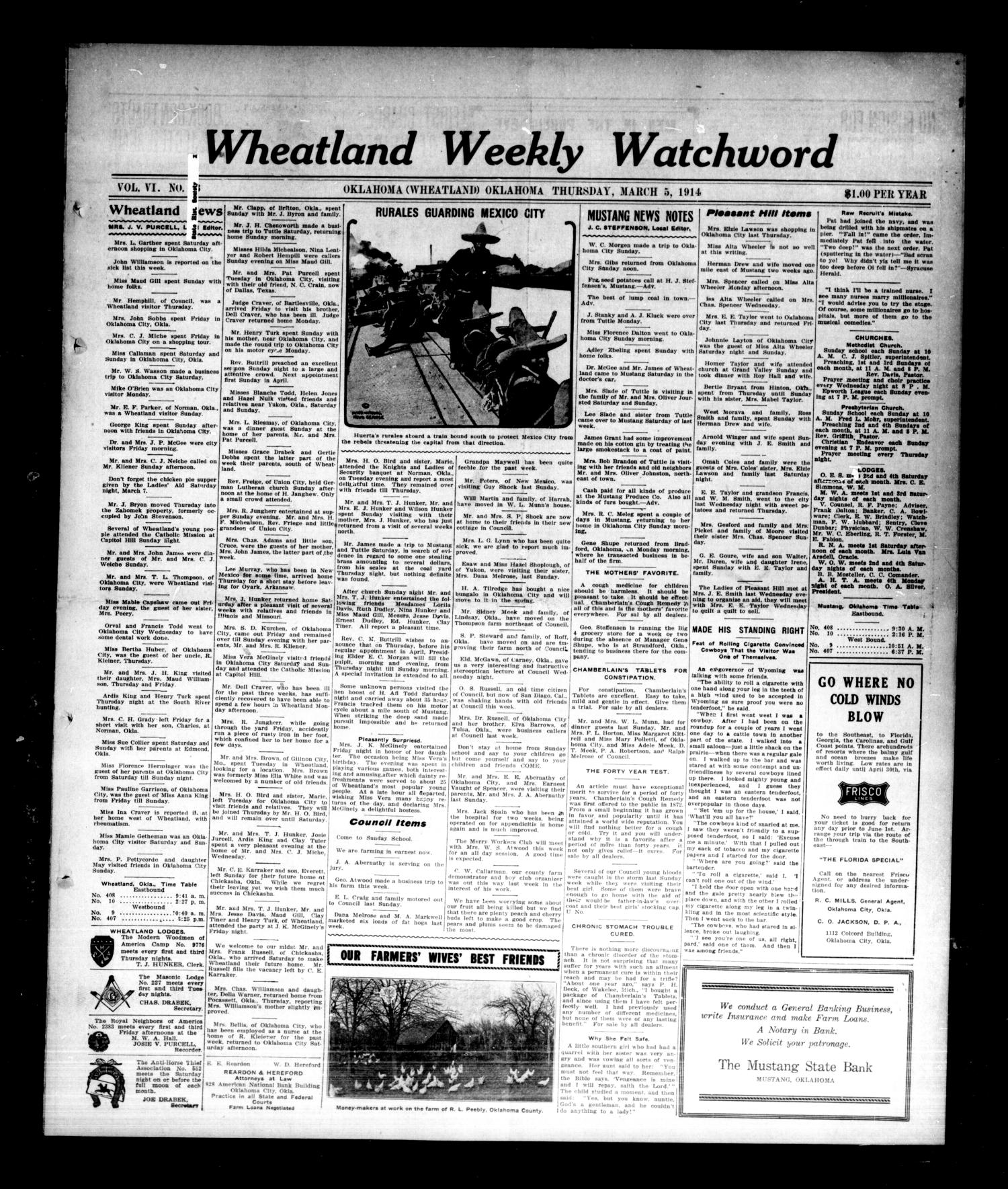 Wheatland Weekly Watchword (Oklahoma [Wheatland], Okla.), Vol. 6, No. 43, Ed. 1 Thursday, March 5, 1914                                                                                                      [Sequence #]: 1 of 8