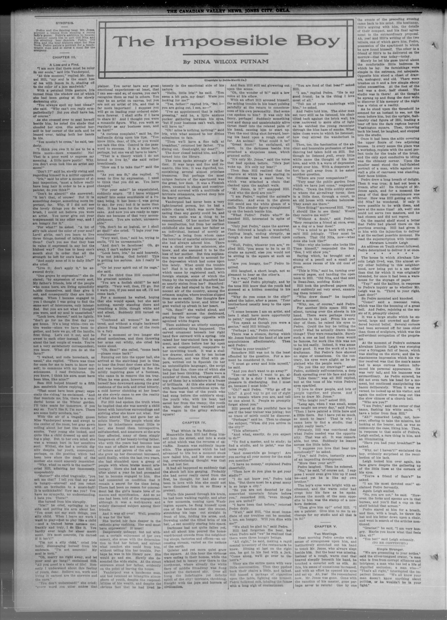 The Canadian Valley News. (Jones City, Okla.), Vol. 14, No. 37, Ed. 1 Friday, January 15, 1915                                                                                                      [Sequence #]: 2 of 8