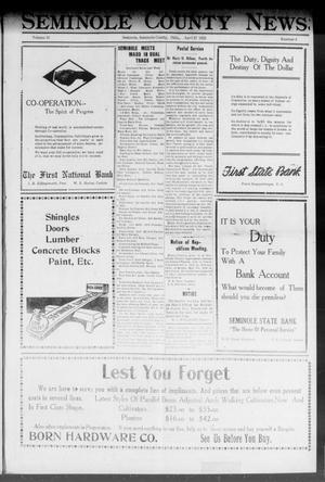Primary view of Seminole County News (Seminole, Okla.), Vol. 16, No. 6, Ed. 1 Thursday, April 27, 1922