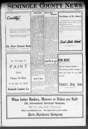 Primary view of object titled 'Seminole County News (Seminole, Okla.), Vol. 15, No. 13, Ed. 1 Thursday, June 16, 1921'.