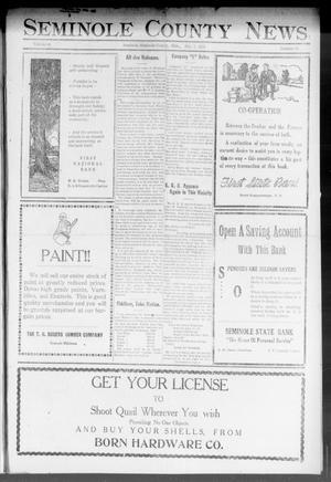 Primary view of object titled 'Seminole County News (Seminole, Okla.), Vol. 16, No. 38, Ed. 1 Thursday, December 7, 1922'.
