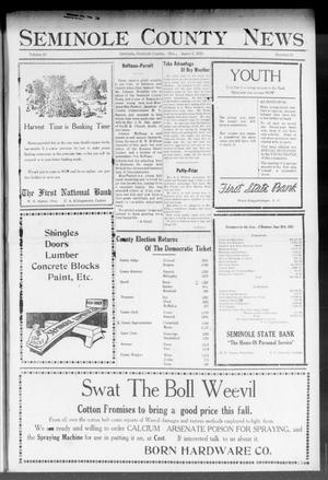 Primary view of object titled 'Seminole County News (Seminole, Okla.), Vol. 16, No. 20, Ed. 1 Thursday, August 3, 1922'.