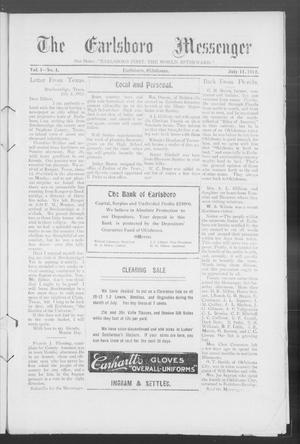 Primary view of object titled 'The Earlsboro Messenger (Earlsboro, Okla.), Vol. 1, No. 4, Ed. 1 Thursday, July 11, 1912'.