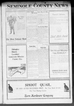 Primary view of object titled 'Seminole County News (Seminole, Okla.), Vol. 15, No. 39, Ed. 1 Thursday, December 15, 1921'.