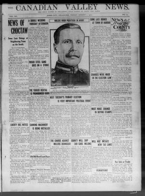 Primary view of object titled 'The Canadian Valley News. (Jones City, Okla.), Vol. 12, No. 12, Ed. 1 Friday, August 2, 1912'.