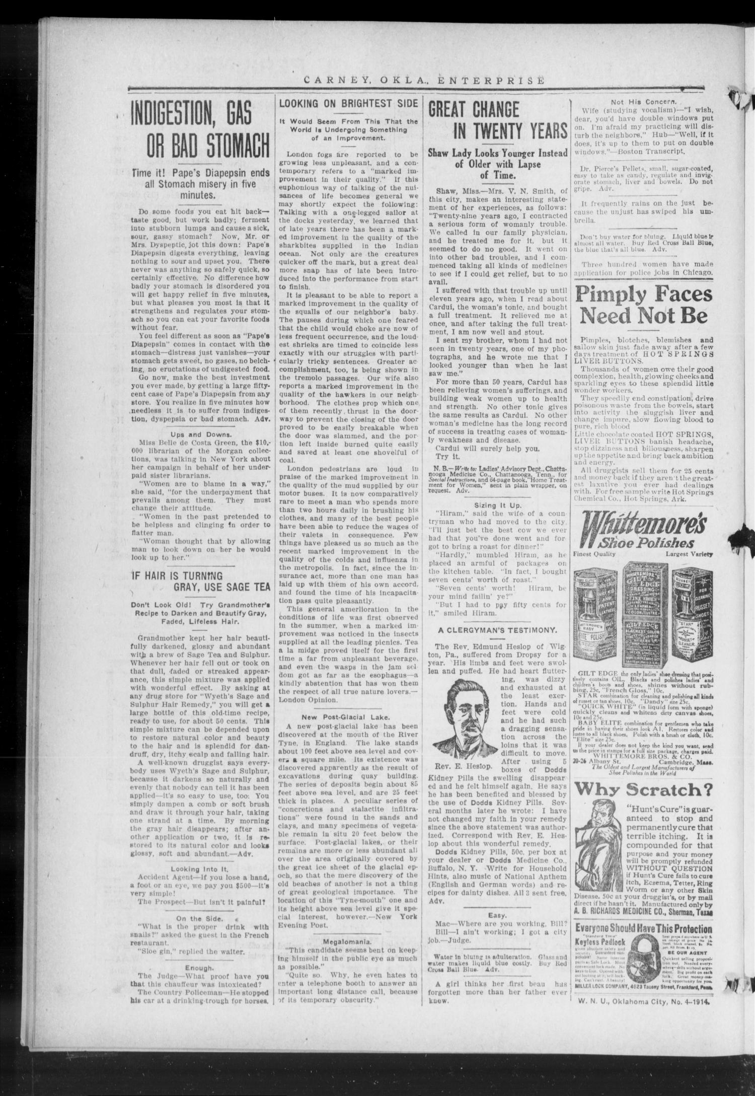 Carney Enterprise. (Carney, Okla.), Vol. 13, No. 27, Ed. 1 Friday, January 30, 1914                                                                                                      [Sequence #]: 4 of 8