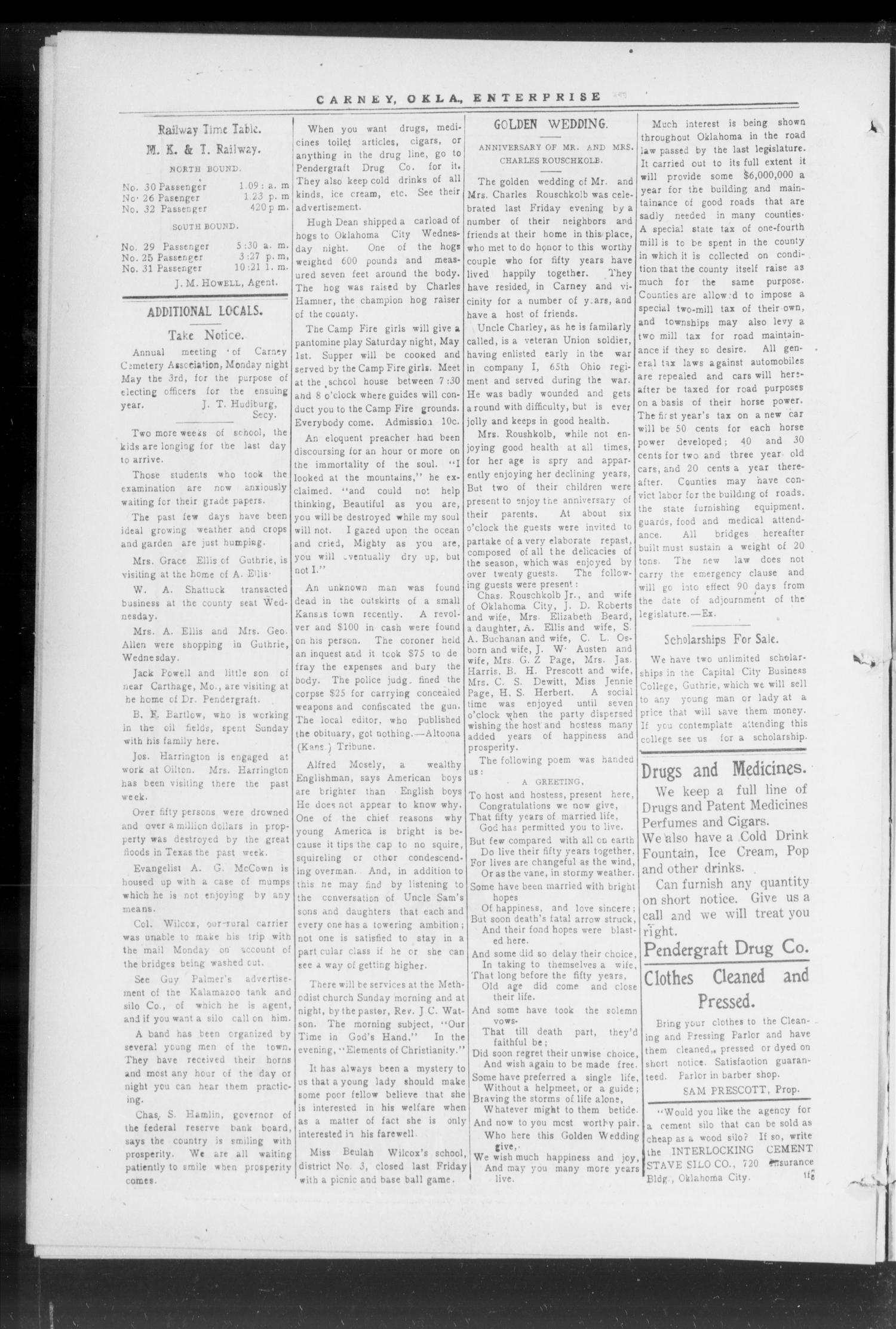 Carney Enterprise. (Carney, Okla.), Vol. 14, No. 40, Ed. 1 Friday, April 30, 1915                                                                                                      [Sequence #]: 6 of 12