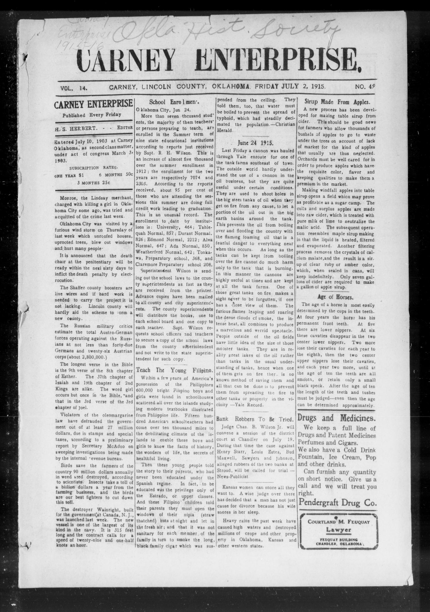 Carney Enterprise. (Carney, Okla.), Vol. 14, No. 49, Ed. 1 Friday, July 2, 1915                                                                                                      [Sequence #]: 1 of 12