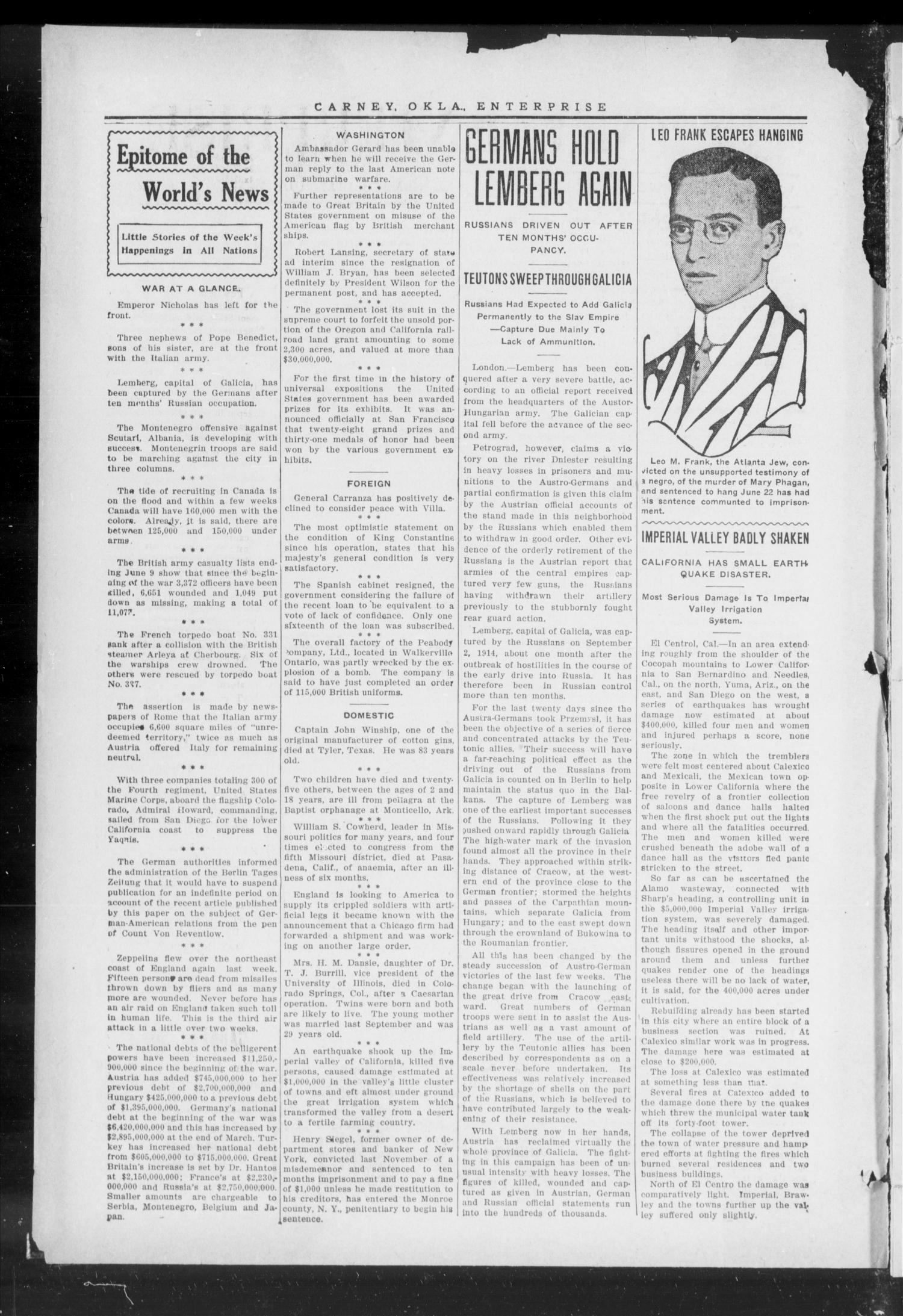 Carney Enterprise. (Carney, Okla.), Vol. 14, No. 49, Ed. 1 Friday, July 2, 1915                                                                                                      [Sequence #]: 2 of 12