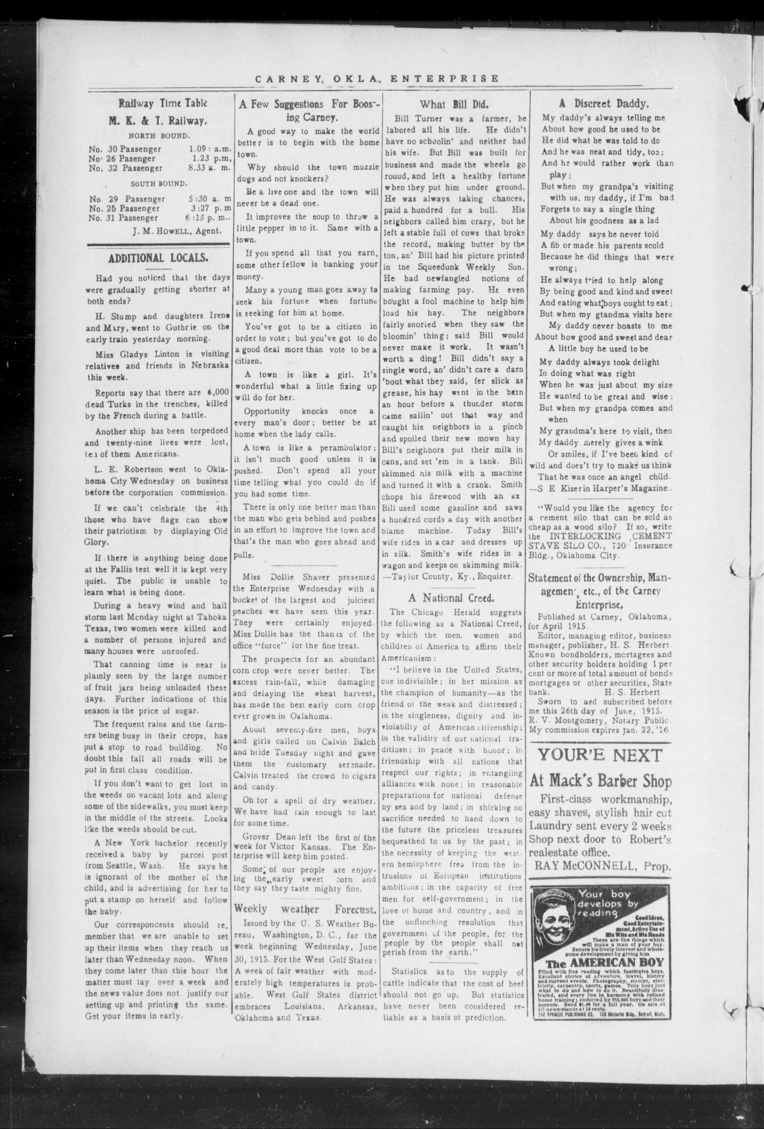 Carney Enterprise. (Carney, Okla.), Vol. 14, No. 49, Ed. 1 Friday, July 2, 1915                                                                                                      [Sequence #]: 6 of 12