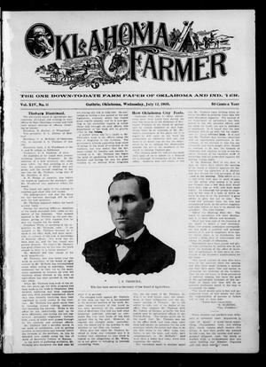 Primary view of object titled 'Oklahoma Farmer (Guthrie, Okla.), Vol. 14, No. 11, Ed. 1 Wednesday, July 12, 1905'.