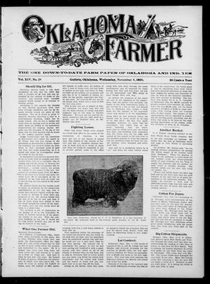 Primary view of object titled 'Oklahoma Farmer (Guthrie, Okla.), Vol. 14, No. 28, Ed. 1 Wednesday, November 8, 1905'.