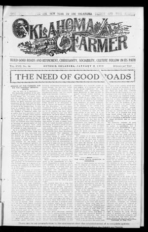 Primary view of object titled 'Oklahoma Farmer (Guthrie, Okla.), Vol. 17, No. 34, Ed. 1 Wednesday, January 13, 1909'.