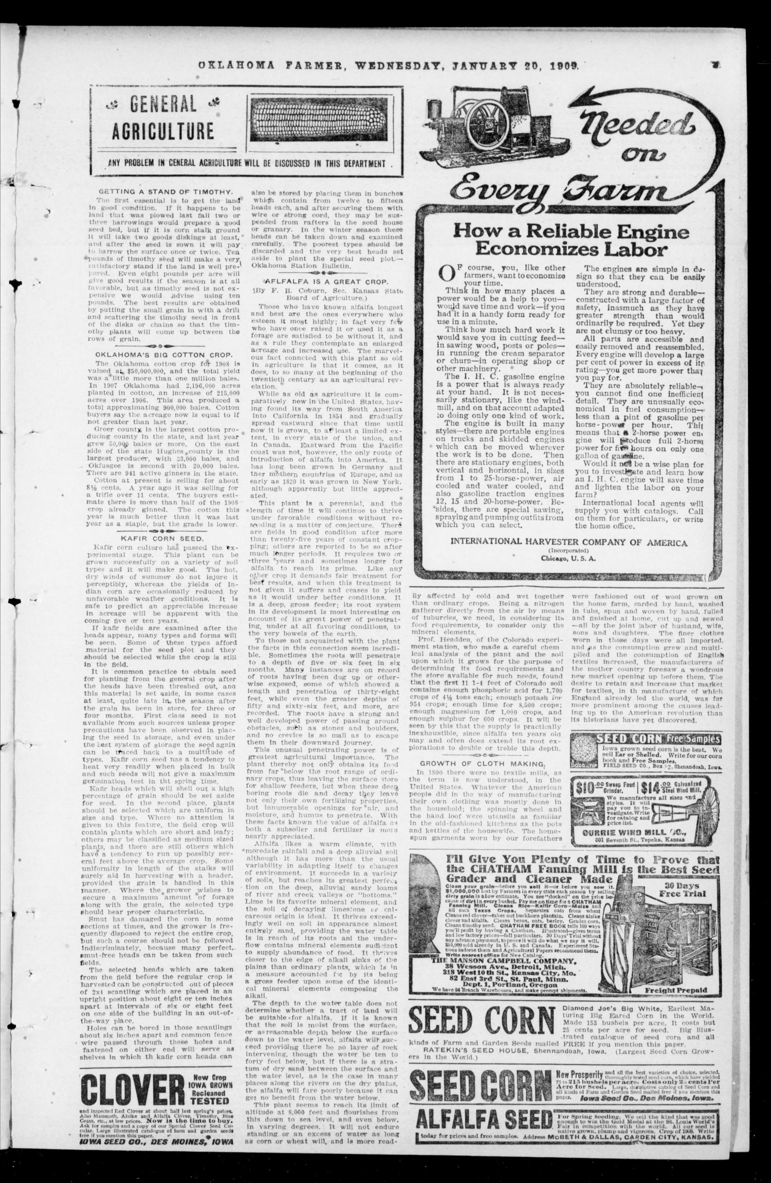 Oklahoma Farmer (Guthrie, Okla.), Vol. 17, No. 35, Ed. 1 Wednesday, January 20, 1909                                                                                                      [Sequence #]: 3 of 16