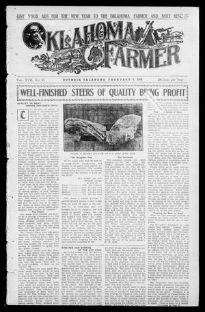 Primary view of object titled 'Oklahoma Farmer (Guthrie, Okla.), Vol. 17, No. 37, Ed. 1 Wednesday, February 3, 1909'.