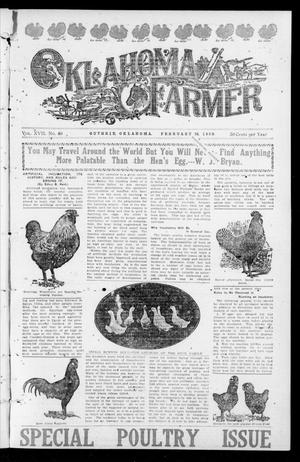 Primary view of object titled 'Oklahoma Farmer (Guthrie, Okla.), Vol. 17, No. 39, Ed. 1 Wednesday, February 24, 1909'.