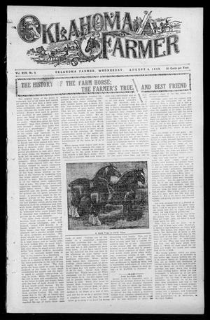 Primary view of object titled 'Oklahoma Farmer (Guthrie, Okla.), Vol. 18, No. 9, Ed. 1 Wednesday, August 4, 1909'.