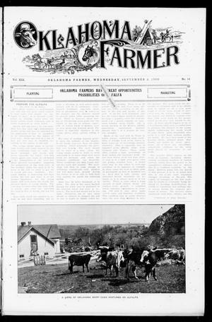 Primary view of object titled 'Oklahoma Farmer (Guthrie, Okla.), Vol. 18, No. 14, Ed. 1 Wednesday, September 8, 1909'.