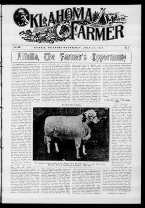 Primary view of object titled 'Oklahoma Farmer (Guthrie, Okla.), Vol. 20, No. 6, Ed. 1 Wednesday, July 13, 1910'.