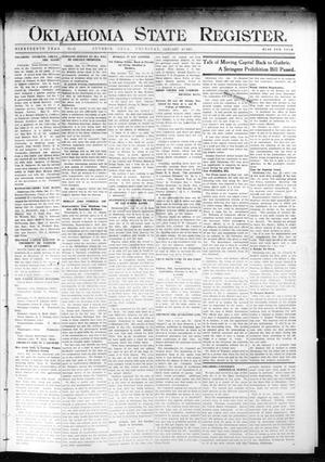 Primary view of object titled 'Oklahoma State Register. (Guthrie, Okla.), Vol. 19, No. 41, Ed. 1 Thursday, January 19, 1911'.