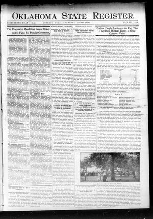 Primary view of object titled 'Oklahoma State Register. (Guthrie, Okla.), Vol. 19, No. 42, Ed. 1 Thursday, January 26, 1911'.