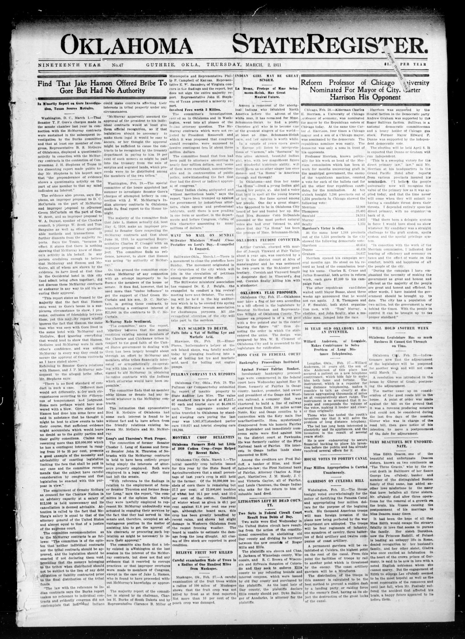 Oklahoma State Register. (Guthrie, Okla.), Vol. 19, No. 47, Ed. 1 Thursday, March 2, 1911                                                                                                      [Sequence #]: 1 of 8